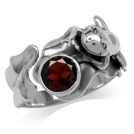 1.36ct. Natural Garnet 925 Sterling Silver Lotus Leaf & Frog Ring