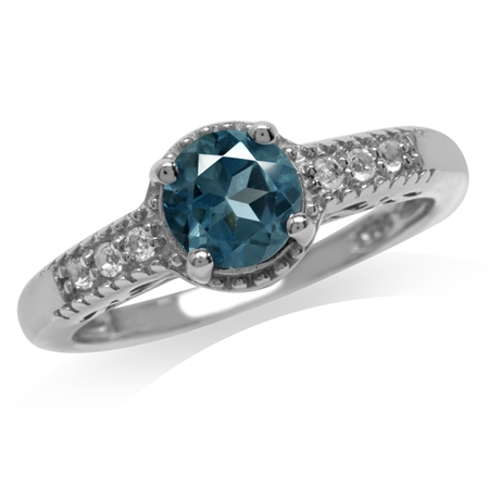 Genuine London Blue Topaz White Gold Plated 925 Sterling Silver Engagement Ring
