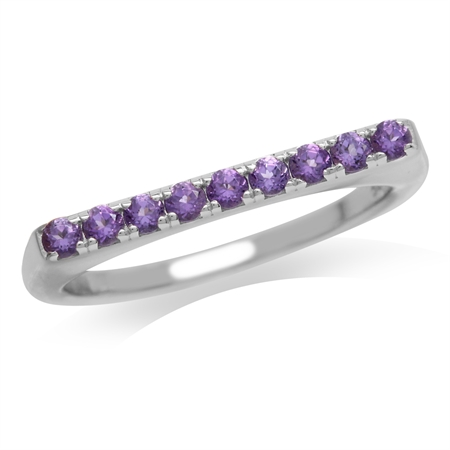 Petite Natural Amethyst White Gold Plated 925 Sterling Silver Journey Ring