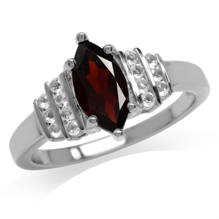 1.2ct. Natural Garnet & White Topaz Gold Plated 925 Sterling Silver Engagement Ring