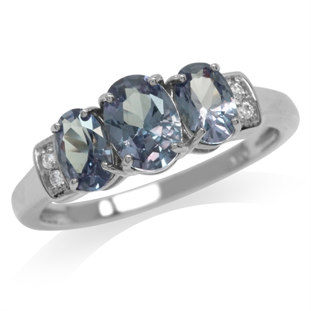 3-Stone Simulated Color Change Alexandrite & White CZ 925 Sterling Silver Ring