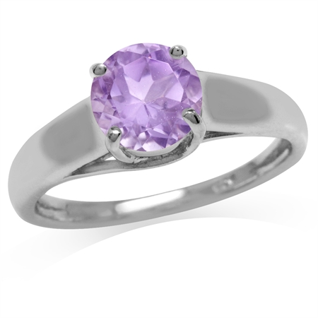 1.23ct. 7MM Natural Round Shape Amethyst White Gold Plated 925 Sterling Silver Solitaire Ring