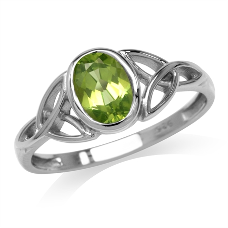 Natural Peridot White Gold Plated 925 Sterling Silver Triquetra Celtic Knot Ring