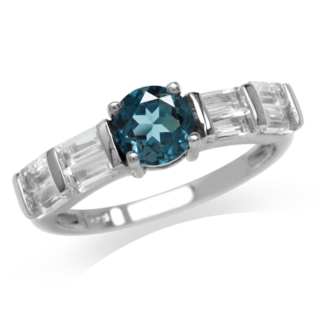1.08ct. Genuine London Blue Topaz White Gold Plated 925 Sterling Silver Engagement Ring