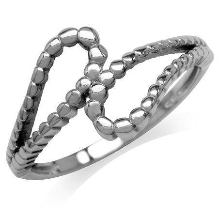 White Gold Plated 925 Sterling Silver Bead Ball Pattern Bypass Ring