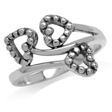 White Gold Plated 925 Sterling Silver Triple Hearts Ring