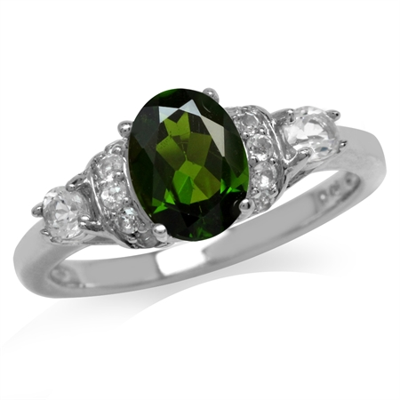 1.32ct. Green Chrome Diopside & White Topaz Gold Plated 925 Sterling Silver Right Hand Ring