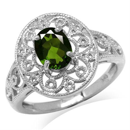 1.32ct. Green Chrome Diopside White Gold Plated 925 Sterling Silver Victorian Style Filigree Ring