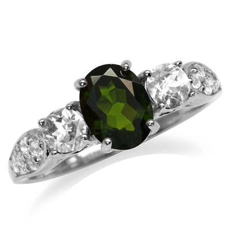 1.32ct. Green Chrome Diopside & White Topaz Gold Plated 925 Sterling Silver Engagement Ring