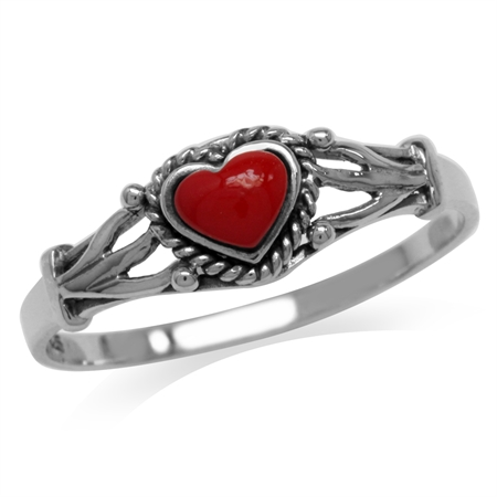 Heart Shape Created Red Coral Oxidized Finish 925 Sterling Silver Rope Ring