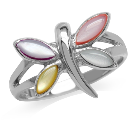 Multi Colored Mother Of Pearl White Gold Plated 925 Sterling Silver Dragonfly Ring