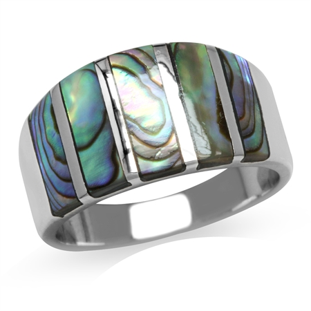 5-Stone Abalone/Paua Shell Inlay White Gold Plated 925 Sterling Silver Ring