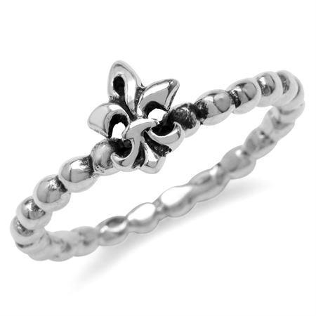 Oxidized Finish 925 Sterling Silver Bead Ball Fleur De Lis Stack/Stackable Ring