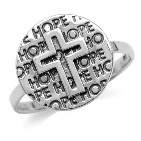 Oxidized Finish 925 Sterling Silver Cross & Hope Ring