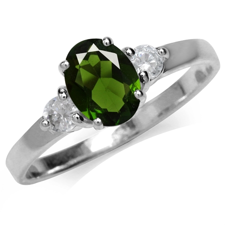 1.38ct. Green Chrome Diopside & White Topaz Gold Plated 925 Sterling Silver Engagement Ring