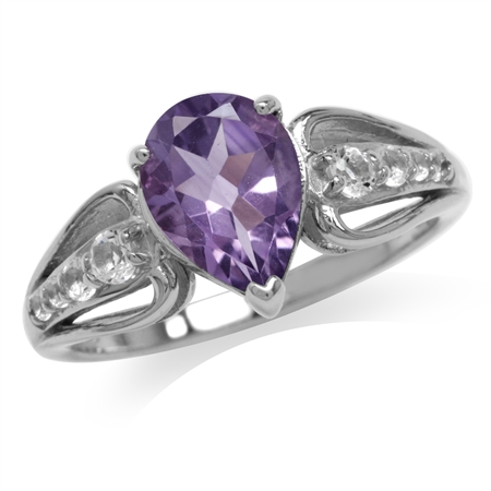 1.64ct. Natural Amethyst & White Topaz Gold Plated 925 Sterling Silver Engagement Ring