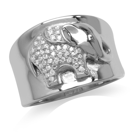 CZ White Gold Plated 925 Sterling Silver Elephant Embossed Ring