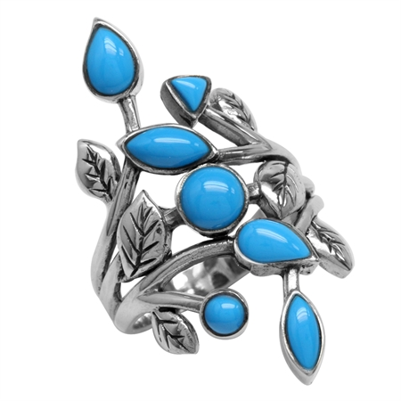 Created Blue Turquoise 925 Sterling Silver Leaf Vintage Style Ring
