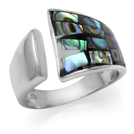 Abalone/Paua Shell White Gold Plated 925 Sterling Silver Open Front Ring