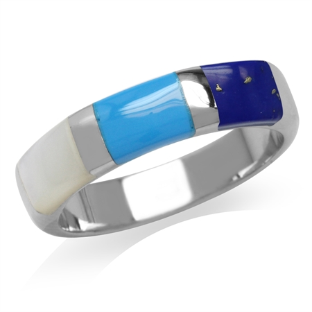 Mother of Pearl, Created Turquoise & Blue Lapis White Gold Plated 925 Sterling Silver Ring