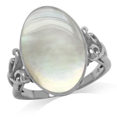 Oval Shape White Mother Of Pearl 925 Sterling Silver Victorian Style Heart Knot Ring