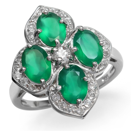 3ct. Natural Emerald Green Agate & White Topaz Gold Plated 925 Sterling Silver Flower Cluster Ring