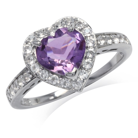1.54ct. Natural Heart Shape Amethyst & Topaz Gold Plated 925 Sterling Silver Halo Engagement Ring