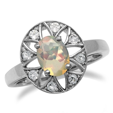 Genuine Opal & White Topaz Gold Plated 925 Sterling Silver Sun Ray Inspired Filigree Ring