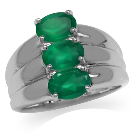 2.25ct. 3-Stone Natural Emerald Green Agate White Gold Plated 925 Sterling Silver Ring