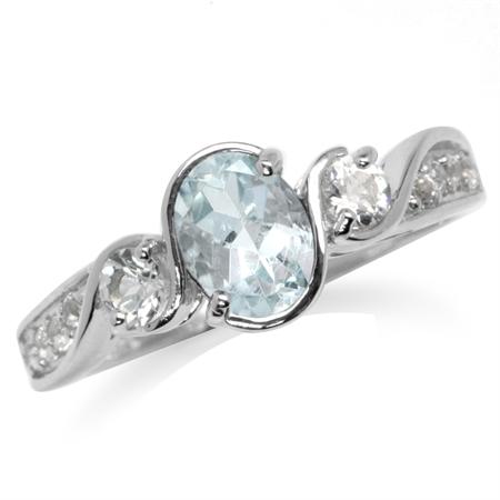 Genuine Blue Aquamarine & White Topaz 925 Sterling Silver Engagement Ring