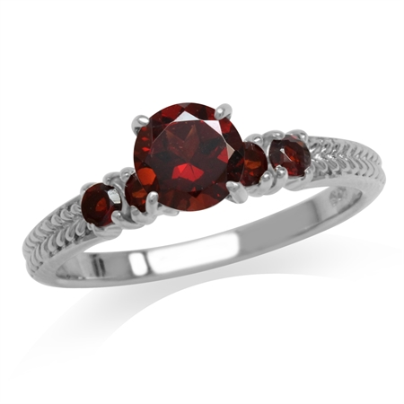 1.33ct. Natural Garnet White Gold Plated 925 Sterling Silver Engagement Ring