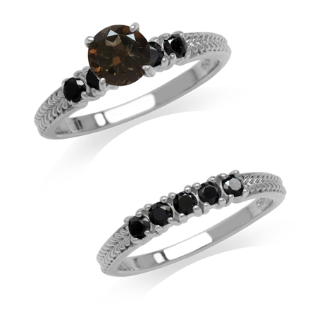 1.36ct. Natural Smoky Quartz & Black Spinel 925 Sterling Silver 2-Pc Set Stack/Stackable Ring