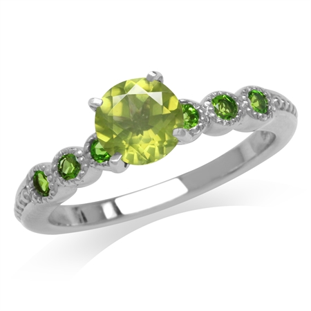 Peridot & Green Chrome Diopside White Gold Plated 925 Sterling Silver Engagement Ring