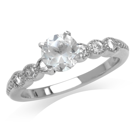 1.2ct. Genuine White Topaz Gold Plated 925 Sterling Silver Engagement Ring