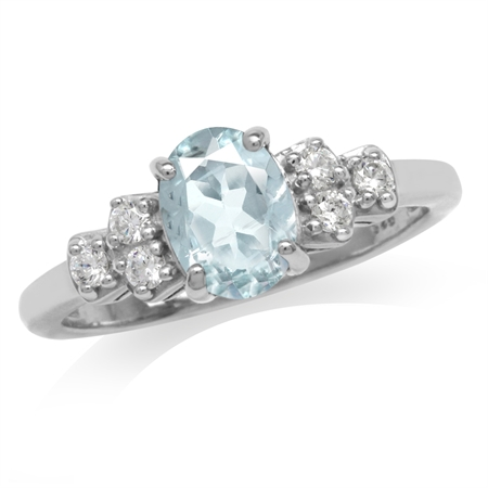 1.02ct. Genuine Blue Aquamarine & White Topaz Gold Plated 925 Sterling Silver Engagement Ring