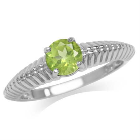 Clearance! Natural Peridot White Gold Plated 925 Sterling Silver Solitaire Ring