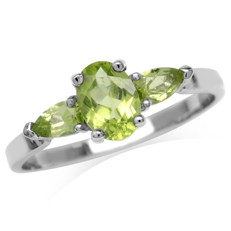 1.36ct. Natural Peridot White Gold Plated 925 Sterling Silver Engagement Ring
