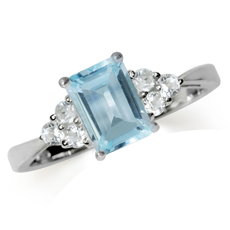 1.27ct. Genuine Blue Topaz White Gold Plated 925 Sterling Silver Engagement Ring
