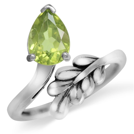 1.16ct. Natural Peridot White Gold Plated 925 Sterling Silver Bypass Leaf Adjustable Ring