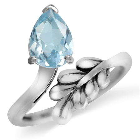 1.38ct. Genuine Blue Topaz White Gold Plated 925 Sterling Silver Bypass Leaf Adjustable Ring