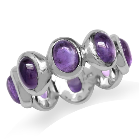 Cabochon Amethyst 925 Sterling Silver Fashion Eternity Ring