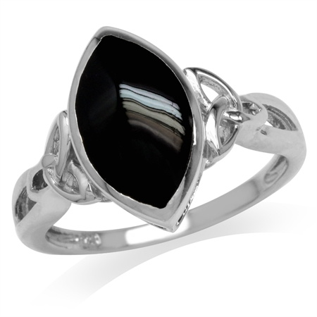 Created Black Onyx White Gold Plated 925 Sterling Silver Triquetra Celtic Knot Ring