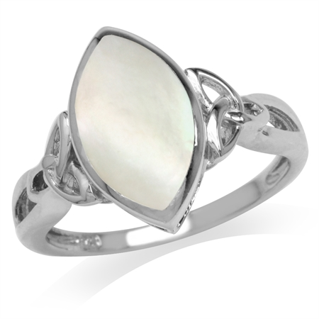 Mother Of Pearl White Gold Plated 925 Sterling Silver Triquetra Celtic Knot Ring