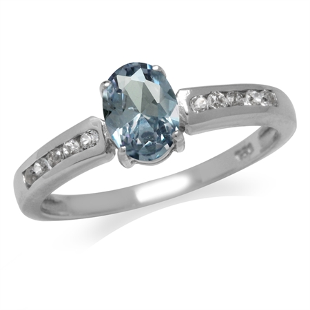 Simulated Color Change Alexandrite White Gold Plated 925 Sterling Silver Engagement/Clearance Ring