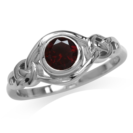 Natural Garnet White Gold Plated 925 Sterling Silver Celtic Knot Ring