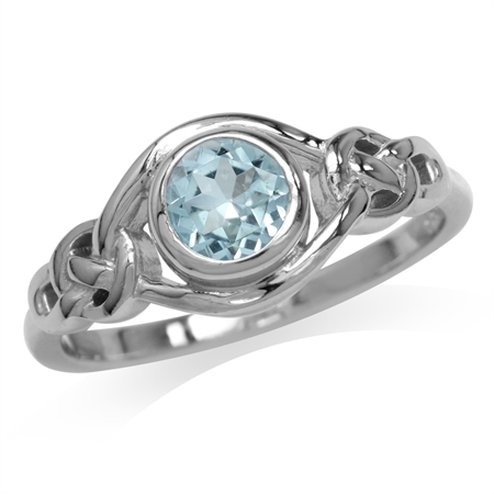 1ct. Genuine Blue Topaz White Gold Plated 925 Sterling Silver Celtic Knot Ring