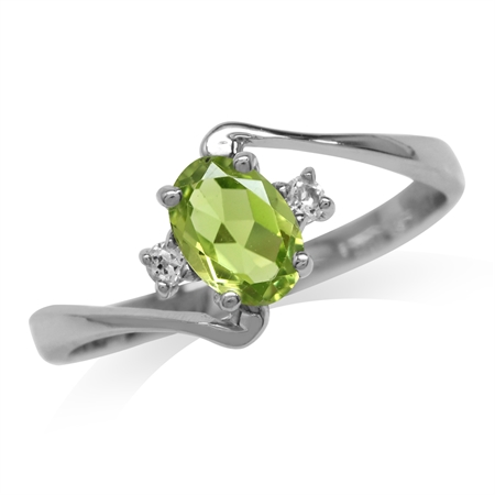Natural Peridot & White Topaz Gold Plated 925 Sterling Silver Engagement Ring