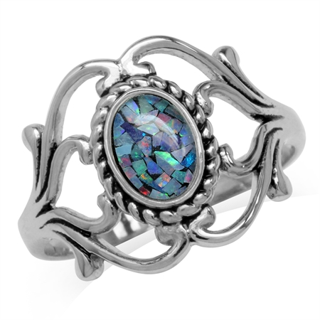 Mosaic Opal White Gold Plated 925 Sterling Silver Victorian Style Rope Ring