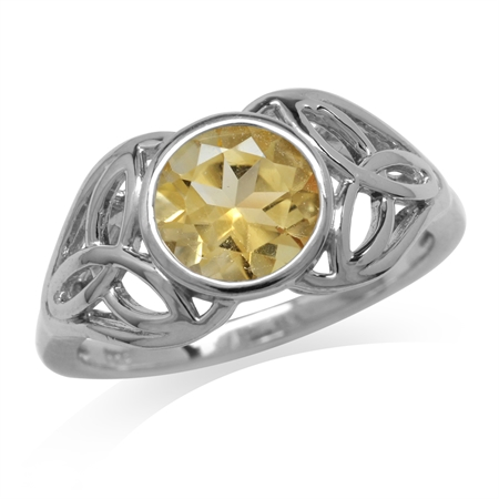 1.72ct. Natural Citrine White Gold Plated 925 Sterling Silver Triquetra Celtic Knot Ring