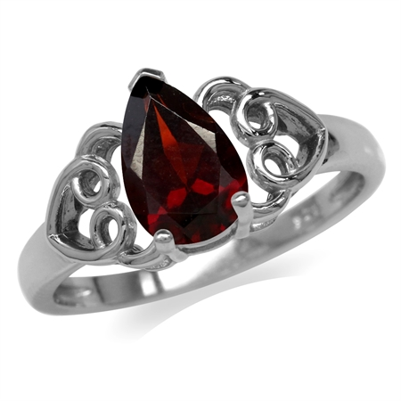 1.38ct. Natural Garnet 925 Sterling Silver Filigree Heart Ring
